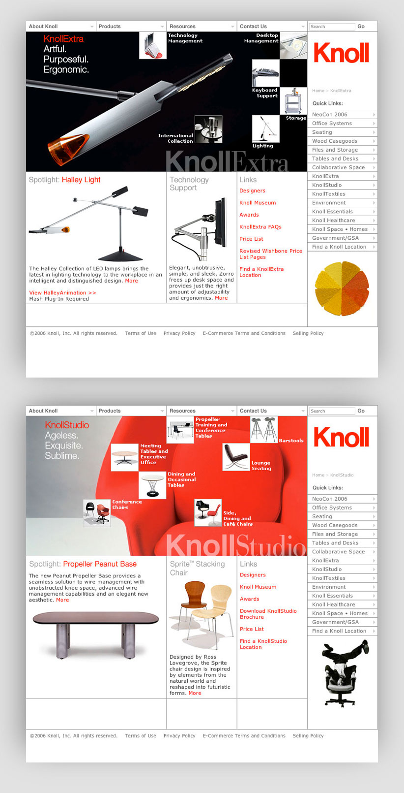 Knoll Web Page Examples