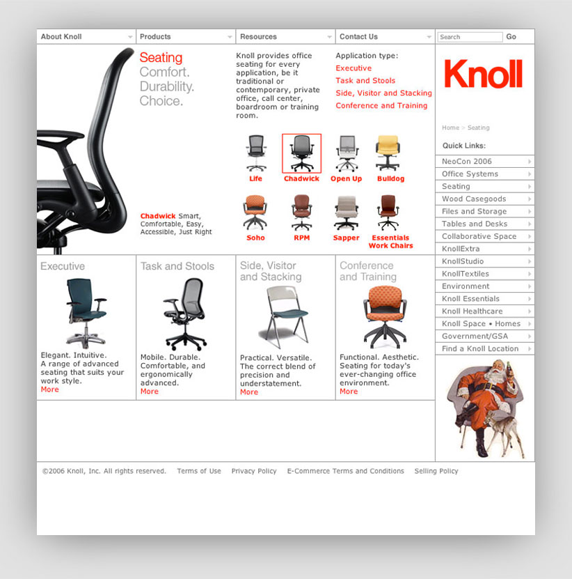 Knoll Web Page: Seating
